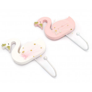 Swan Shaped White Pink Wooden Coat Hook For Bedroom Nursery Playroom - Colour Varies