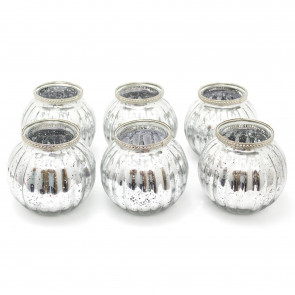 Pack of 6 Silver Mercury Effect Tealight Holder   13cm x 11.5cm Ribbed Candle Pot    Wedding Table Decorations Centerpiece Settings
