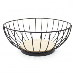 Black Metal Wire Fruit Vegetable Basket With Wooden Base - Modern Kitchen Storage Display Basket