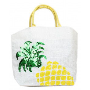 Sequin Icon Cotton Jute Tote Shoulder Shopping Shopper Reusable Bag ~ Pineapple