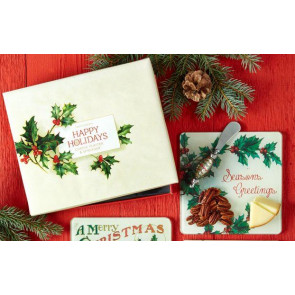 Happy Holidays 2 Piece Cheese Serving Set - Christmas Cheese Board Platter And Cheese Knife - Seasons Greetings