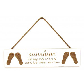 By The Sea Handcrafted Wooden Hanging Plaque Flip Flops ~ Sunshine On My Shoulders