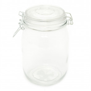 Glass Clip Flip Top Lid Airtight Storage Jar | 1000ml Round Glass Airtight Dry Food Storage Jar Container - Rice Pasta Pules Canister