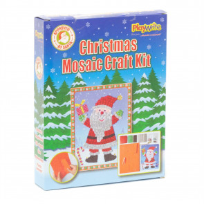 Childrens Christmas Art Craft Kit | Kids Creative Festive Mosaic Picture - Santa