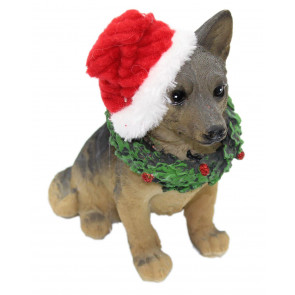 Christmas Dog Figurine Statue Ornament ~ Xmas Santa Animal Decoration ~ German Shepard
