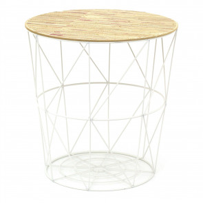 White Wire Woven Top Occasional Side Table | Coffee Table With Storage | Living Room Side Tables | Wire End Table