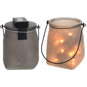 Stunning Stone Effect Decorative Mason Jar Lantern With Led Lights - Grey