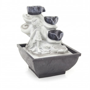 Buddha Fountain Indoor Water Feature 3 Pin UK Plug Included | Decorative Indoor Water Fountain Zen Garden Water Feature | Buddha Zen Garden - Flower Cups