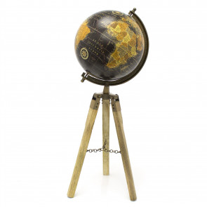 Black Antique Effect Globe on Wooden Tripod Stand | 20x55cm Vintage Style Rotating World Map Globe Home Decor Ornament