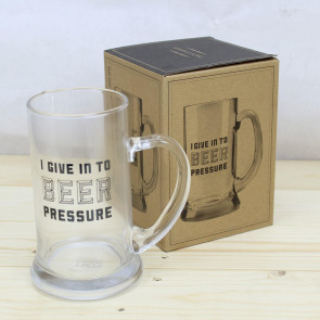 Men's Best Friend Beer Stein Glass Pint Tankard Mug ~ I Give In To Beer Pressure