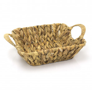 Rattan Square Storage Basket With Handles 27cm x 35cm - Woven Water Hyacinth Fruit Basket Display Organiser