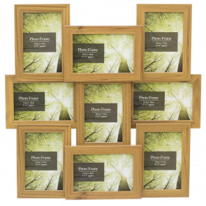 9 Multi Aperture Layered Photo Frame 6x4 | Wall Mounted Wooden Effect 4x6 Picture Frame | Photo Collage Display Family Frames