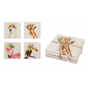 Beautiful Pack Of 4 Animal Cup Mug Coasters For Drinks ~ Coffee Table Mats