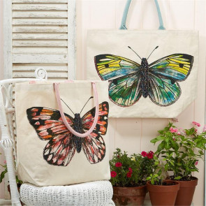 Large Cotton Canvas Beaded Butterfly Jute Tote Reusable Beach Grocery Shopping Bag - Colour Varies