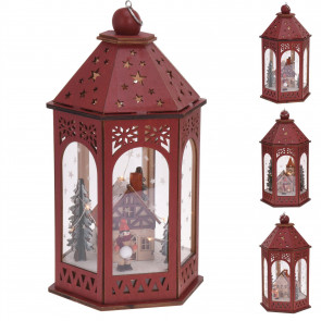 30cm LED Red Wooden Christmas Lantern | Light Up Nordic Alpine Scene Decorative Light | 10 Battery Operated LED Fairy Lights | Design Varies One Supplied