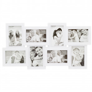 Contemporary White 8 Multi Aperture Photo Frame - 60cm Collage Display Picture Frame
