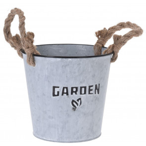Silver Washed Round Garden Zinc Bucket Planter Windowsill Herb Box with Rope Handles
