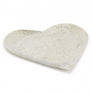 Stylish 37cm Aluminium Embossed Decorative Heart Dish | Large Decorative Silver Metal Display Plate With Hammered Detail | Perfume Jewellery Trinket Candle Tray