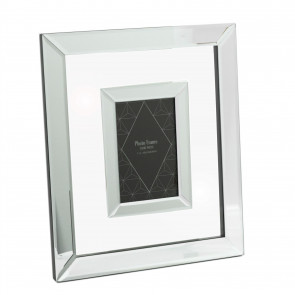 4x6 Deluxe Mirror Glass Photo Frame | Wall Mounted Single Aperture Picture Frame | 10x15cm Mirrored Photo Holder