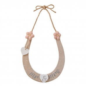 Mr And Mrs Good Luck Wedding Day Horseshoe - Wooden Lucky Keepsake Plaque Sign Charm - Bridal Accessory