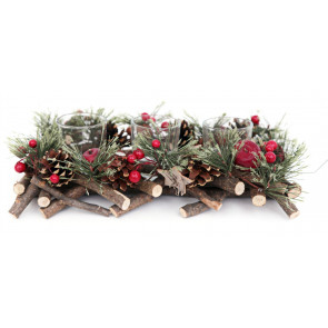 Handcrafted Christmas Triple Tealight Candle Holder ~ Xmas Table Centrepiece