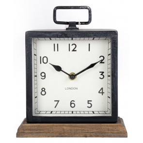 Distressed Square Black Metal Mantel Clock On Wood Base