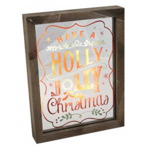 Wooden Christmas Light Up LED Glass Mirror Plaque Decoration ~ Holly Jolly Christmas