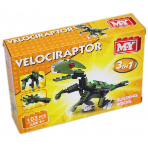 MY Building Bricks Dinosaur 3 in 1 Construction Set ~ Velociraptor
