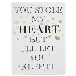 Gold Wooden Love Sign Wall Hanging Plaque 30cm x 40cm ~ You Stole My Heart