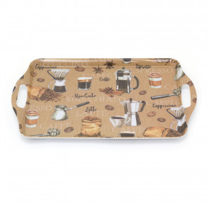38cm Coffee Design Serving Tray | Kitchen Tea Coffee Tray Snack Trays | Melamine Food And Drinks Trays
