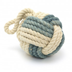 Two Tone Rope Doorstop | Nautical Monkey's Fist Seaside Rope Door Stop | Beach Rope Knot Door Stopper Ball - Light Blue