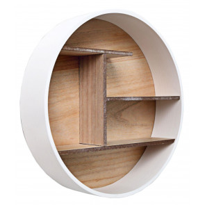 Contemporary Round Wall Mounted White Wooden Multi Shelf Storage Display Unit