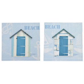 Nautical 3D Effect Costal Beach Huts Picture - Pale Blue Canvas Print - Beach