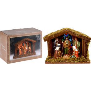Illuminated Christmas Nativity Scene - Battery Operated Light Up LED Nativity Stable and Figurines Set