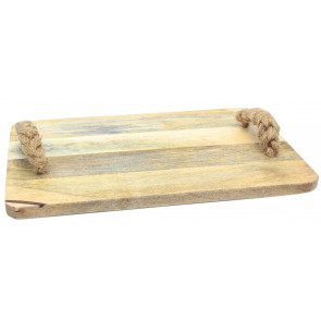 Large Wooden Chopping Board With Plaited Handle Serving Platter