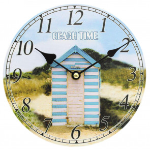 Nautical Wooden Wall Clock Beach Hut ~ Lovely Seaside Decoration