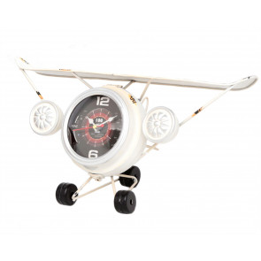 Metal Aeroplane Decorative Bedside Desk Office Mantel Clock Ornament ~ White
