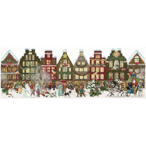 Deluxe Traditional Stand Up Card Advent Calendar Extra Large - Nostalgic Christmas Village Scene