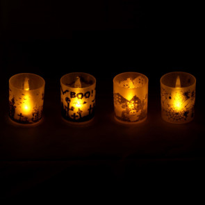 Pack of 4 Plastic Halloween Candlepot LED Tealight Lantern Party Decorations ~ Design Varies
