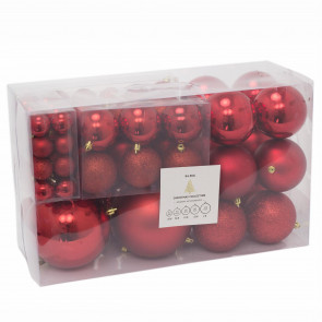 94 Piece Red Christmas Tree Bauble Box | Xmas Hanging Ball Christmas Tree Ornaments Decorations