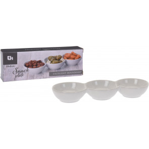 White Ceramic Snack Bowl 3 Compartment Serving Dish - 24cm Dip Platter ~ Trio of Bowls for Olives Nuts and Nibbles