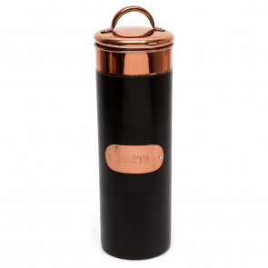 Black And Copper Kitchen Pasta Storage Canister Tin ~ Gorgeous Metal Spaghetti Jar