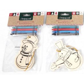 Diy Christmas Craft Hanging Wooden Tree Ornament ~ Snowman Design Vary