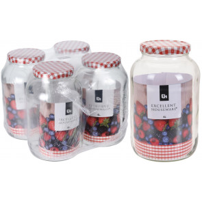 Jumbo 4 Litre Glass Storage Jar - Giant Jam Jar With Screw Top Metal Lid