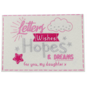 Beautiful Embroidered Felt New Baby Letters, Wishes Hopes And Dream Keepsake Envelope ~ Girl