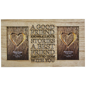 4 X 6 Rustic Double Worded Wooden Friend Photo Frame