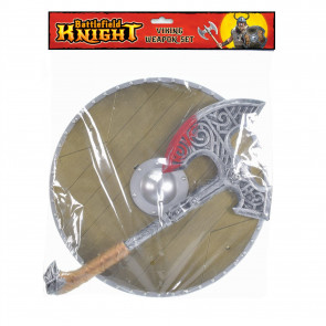 Kids Viking Shield And Weapon Set | Medieval Warrior Fancy Dress Costume | Children's Viking Accessories - Axe