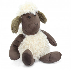 Cute Woolly Sheep Fabric Doorstop - Novelty Animal Door Stop - Brown Ear