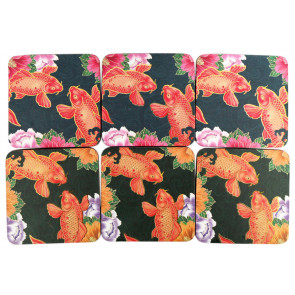 Pack Of 6 Gorgeous Bright Koi Fish Coaster For Drinks ~ Coffee Table Mats