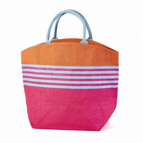Rio Striped Canvas Jute Tote Bag ~  Blue Handles